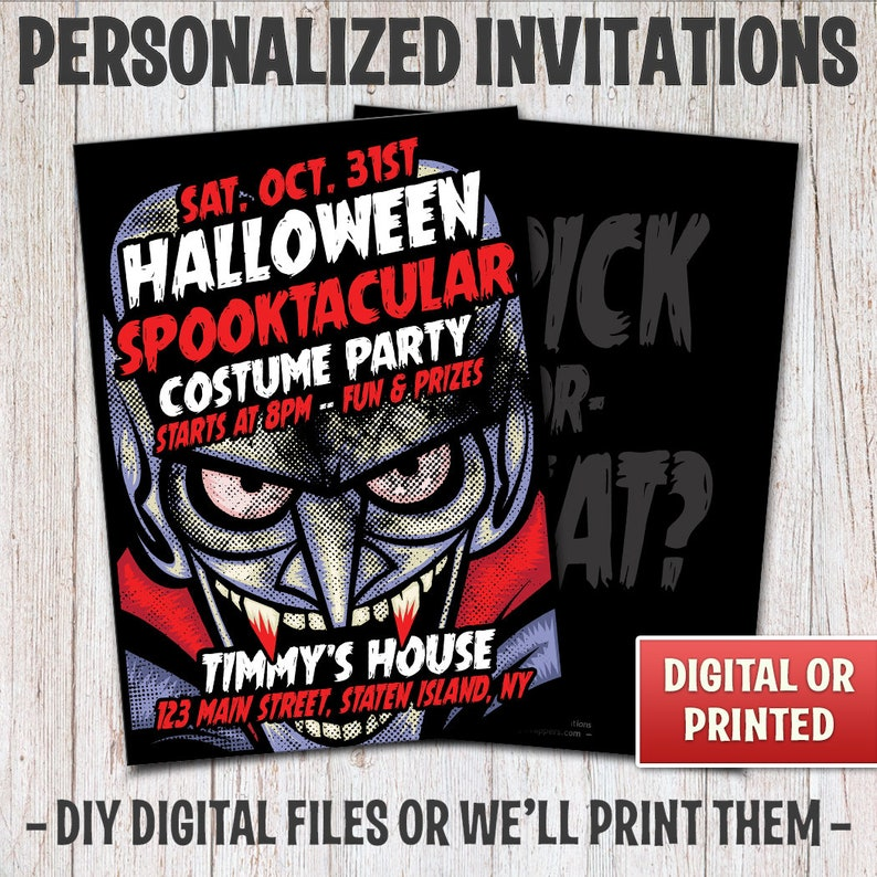 Personalized Vampire Halloween Party Invitations Vampire image 0