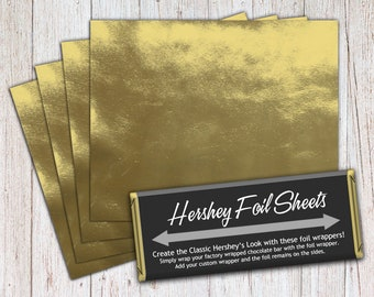 Gold Foil Sheets, Hershey Foil Sheets, Hershey Foil Wrappers, Candy Bar Foil Sheets, Foil Wrappers for Wrapping 1.55Oz Hershey Bars