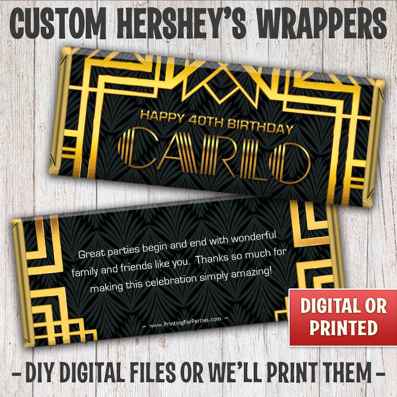 Great Gatsby Candy Bar Wrapper Art Deco Candy Bar Wrapper image 0
