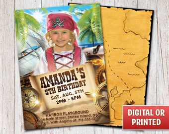 Personalized Pirate Birthday Invitation, Girl Pirate Invitation, Pirate Party, Pirate Birthday, Digital File or Printed, 4x6 or 5x7 – 003