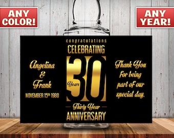 Personalized 30th Anniversary Square Mini Liquor Bottles, Caps & Custom Labels, Mini Liquor Bottles, Party Favor, 30th, 40th, 50th, 60th