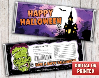 Halloween Candy Bar Wrappers, Haunted House, Trick or Treat Candy Bar Wrappers, Candy Bar Wrappers, Free Foil, Digital File or Printed – 076