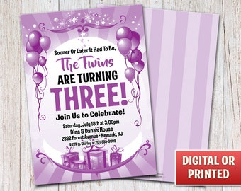 Personalized Balloons Birthday Invitation, Birthday Balloon Invitation, Balloons Invitation, Digital File or Printed, 4x6 or 5x7 – 015PR