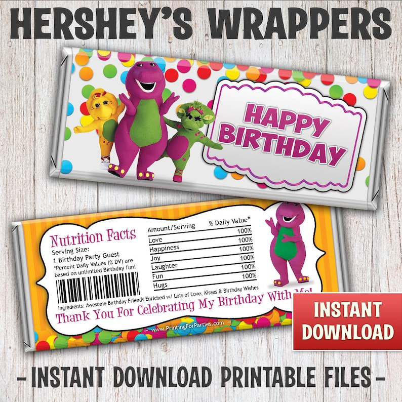 Instant Download Barney Candy Bar Wrapper Printable Barney image 0
