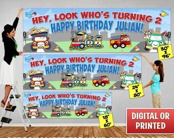 Custom Personalized Balloons Birthday Banner Decoration, Custom Banner, Personalized Banner, Balloons, Birthday Backdrop Decoration 086