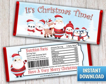 Christmas Hershey's Bar Wrappers, Santa and Friends Candy Bar Wrappers, Santa, Candy Bar Wrappers, Merry Christmas, Instant Download – 127