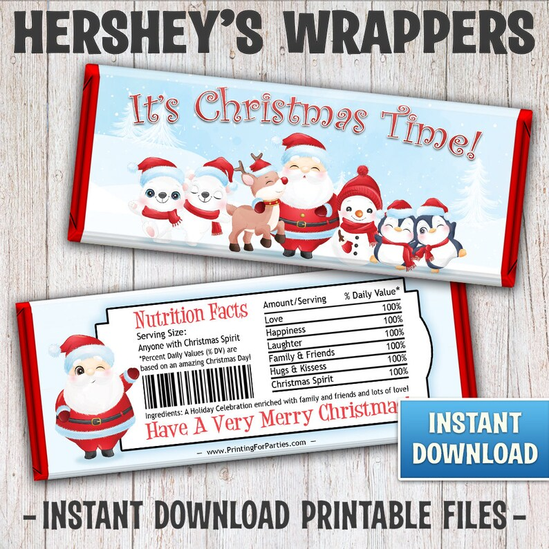 Christmas Hershey's Bar Wrappers Santa and Friends Candy image 1