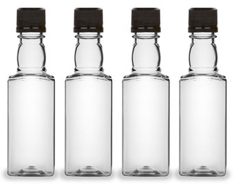 Mini Liquor Bottles, Square 50ml, Small Empty Plastic Mini Alcohol Bottles, Mini Bottle Shots, Bottles + Black Tamper Evident Caps