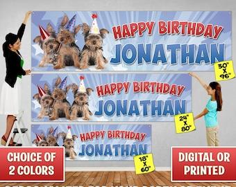 Custom Personalized Puppy Birthday Banner Decoration, Custom Banner, Personalized Banner, Yorkie, Dog, Birthday Backdrop Decoration 101