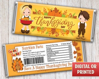 Thanksgiving Candy Bar Wrappers, Fall Harvest Candy Bar Wrappers, Candy Bar Wrappers, Free Foil, Digital File or Printed – 124