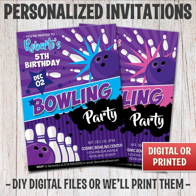 Personalized Bowling Birthday Invitation Birthday Bowling image 0