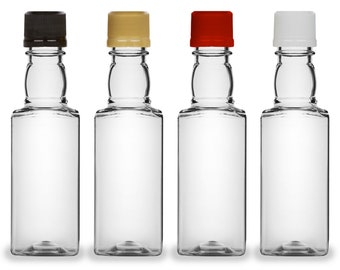Mini Liquor Bottles, Square 50ml, Small Empty Plastic Mini Alcohol Bottles, Mini Bottle Shots, Bottles + Caps (black, gold, red or white)