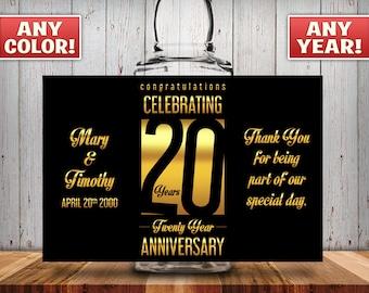 Personalized 20th Anniversary Square Mini Liquor Bottles, Caps & Custom Labels, Mini Liquor Bottles, Party Favor, 30th, 40th, 50th, 60th