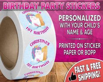 Unicorn Birthday Party Stickers Personalized, Unicorn Stickers, Unicorn Labels, Round Stickers, Unicorn Labels, Birthday Party Stickers 0003