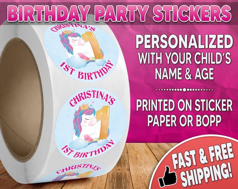 Unicorn Birthday Party Stickers Personalized Unicorn image 0