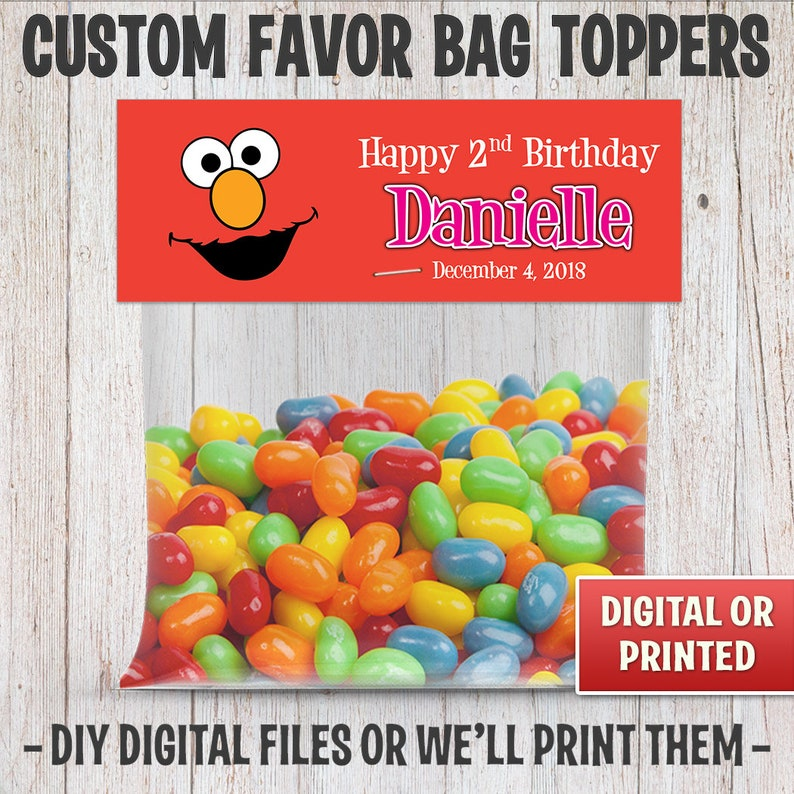 Sesame Street's Elmo Favor Party Bag Toppers For Birthday image 0
