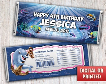 Girls Under The Sea Candy Bar Wrapper, Under The Ocean Candy Bar Wrapper, Candy Bar Wrappers, Free Foil, Digital File or Printed - 018G