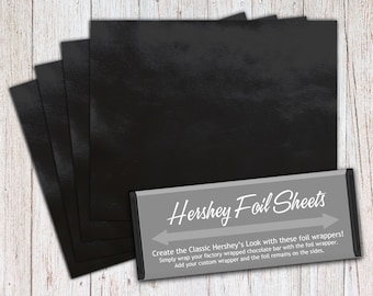 Black Foil Sheets, Hershey Foil Sheets, Hershey Foil Wrappers, Candy Bar Foil Sheets, Foil Wrappers for Wrapping 1.55Oz Hershey Bars