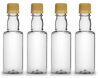 Mini Liquor Bottles, Square 50ml, Small Empty Plastic Mini Alcohol Bottles, Mini Bottle Shots, Bottles + Gold Tamper Evident Caps