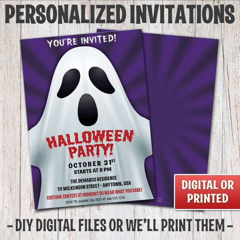 Personalized Halloween Party Invitations Halloween Ghost image 0