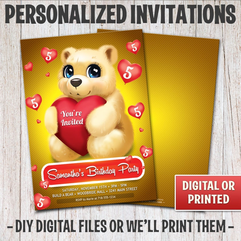 Personalized Teddy Bear Birthday Invitation Birthday Teddy image 0