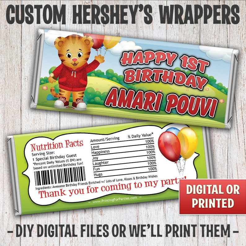 Daniel the Tiger Candy Bar Wrapper Daniel Candy Bar Wrapper image 0