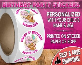 Teddy Bear Birthday Party Stickers Personalized, Teddy Bear Stickers, Teddy Bear Labels, Round Stickers, Birthday Party Stickers 0002