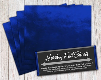 Dark Blue Foil Sheets, Hershey Foil Sheets, Hershey Foil Wrappers, Candy Bar Foil Sheets, Foil Wrappers for Wrapping 1.55Oz Hershey Bars