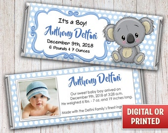 Baby Announcement Candy Bar Wrapper, Birth Announcement Candy Bar Wrapper, Candy Bar Wrappers, Free Foil, Digital File or Printed - 016B