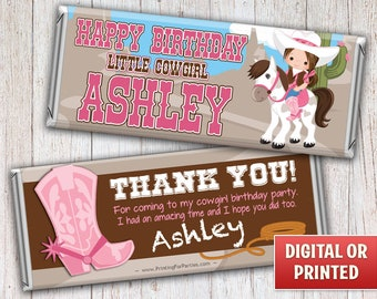 Cowgirl on Horse Candy Bar Wrapper, Cowgirl Candy Bar Wrappers, Candy Bar Wrappers, Western, Free Foil, Digital File or Printed - 036