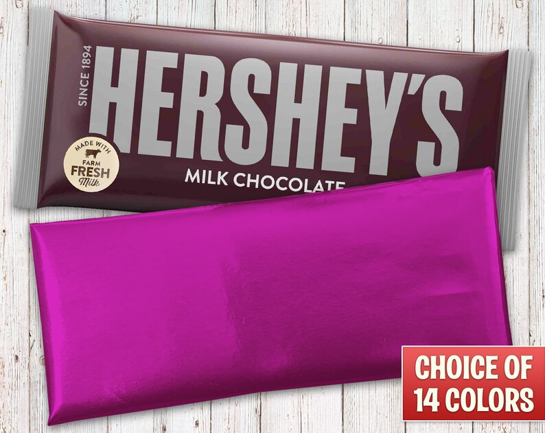 Hershey's Milk Chocolate Bars Wrapped with Fuchsia Foil image 0