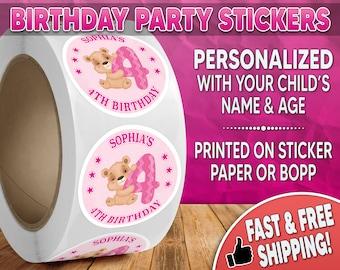 Teddy Bear Birthday Party Stickers Personalized, Teddy Bear Stickers, Teddy Bear Labels, Round Stickers, Birthday Party Stickers 0005