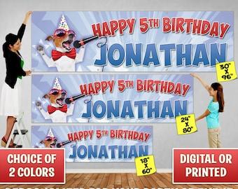 Custom Personalized Puppy Birthday Banner Decoration, Custom Banner, Personalized Banner, Singing Dog, Birthday Backdrop Decoration 102