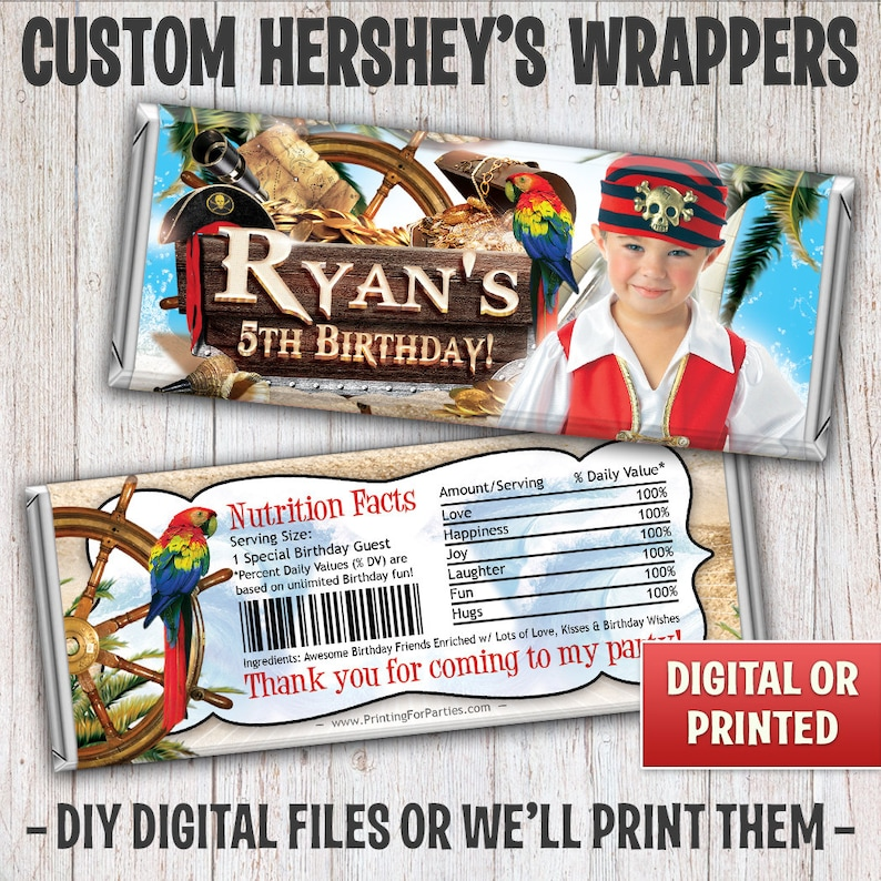 Personalized Pirate Candy Bar Wrapper Pirate Hersheys Bar image 0