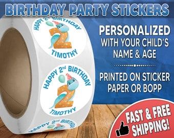 Dinosaur Birthday Party Stickers Personalized, Dinosaur Stickers, Dinosaur Labels, Round Stickers, Birthday Party Stickers, T-Rex - 0001