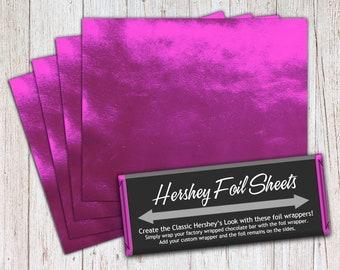 Fuchsia Pink Foil Sheets, Hershey Foil Sheets, Hershey Foil Wrappers, Candy Bar Foil Sheets, Foil Wrappers for Wrapping 1.55Oz Hershey Bars
