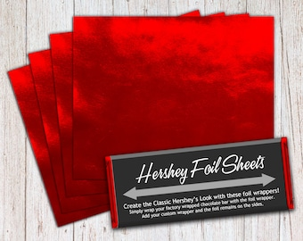 Red Foil Sheets, Hershey Foil Sheets, Hershey Foil Wrappers, Candy Bar Foil Sheets, Foil Wrappers for Wrapping 1.55Oz Hershey Bars