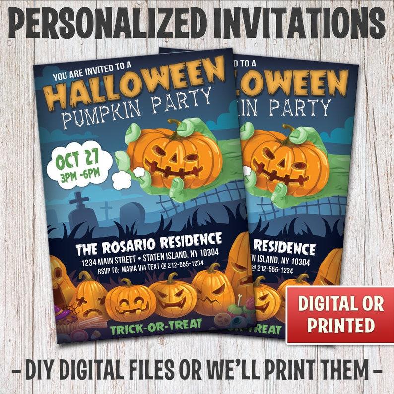 Personalized Halloween Party Invitations Halloween Pumpkin image 0