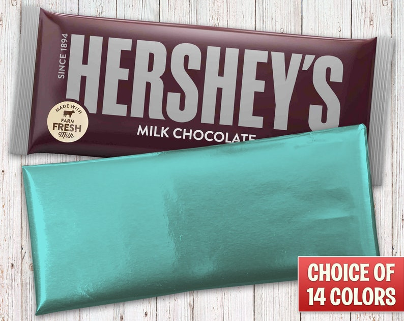 Hershey's Milk Chocolate Wrapped With a Peacock Blue Foil image 0