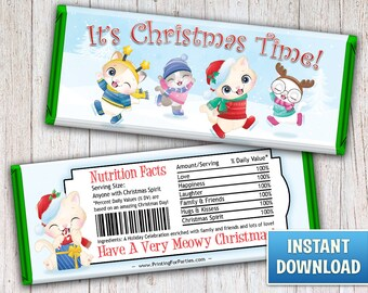 Christmas Hershey's Bar Wrappers, Christmas Kittens Candy Bar Wrappers, Cats, Candy Bar Wrappers, Merry Christmas, Instant Download – 129