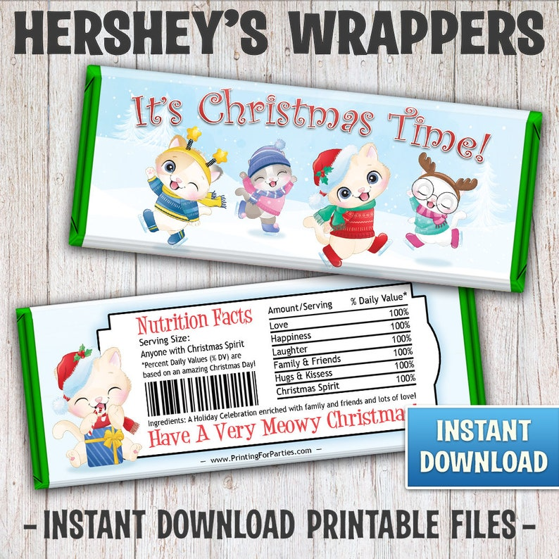 Christmas Hershey's Bar Wrappers Christmas Kittens Candy image 0