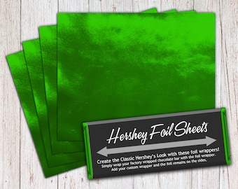 Green Foil Sheets, Hershey Foil Sheets, Hershey Foil Wrappers, Candy Bar Foil Sheets, Foil Wrappers for Wrapping 1.55Oz Hershey Bars