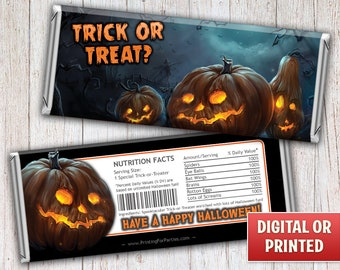 Halloween Candy Bar Wrappers, Pumpkins, Trick or Treat Candy Bar Wrappers, Candy Bar Wrappers, Free Foil, Digital File or Printed – 077