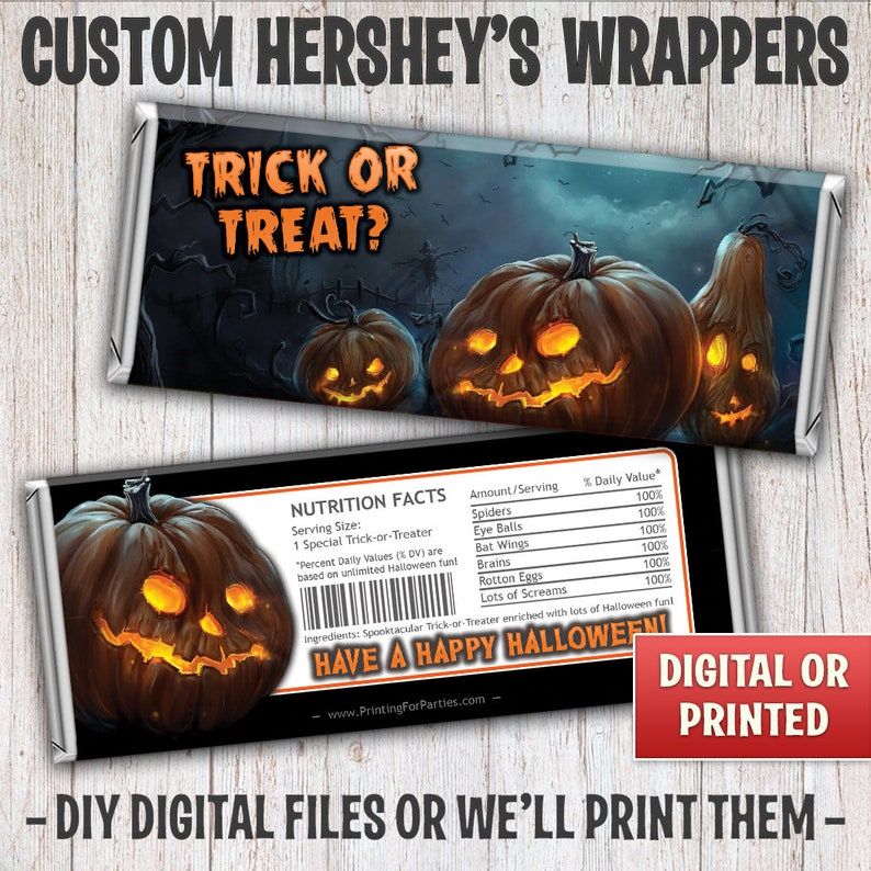 Halloween Candy Bar Wrappers Pumpkins Trick or Treat Candy image 0