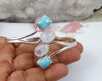 Birthday Gift Handmade Bracelet Larimar Jewelry Natural Larimar Bracelet J20810 Sale Solid 925 Sterling Silver Bracelet Lobster Claw