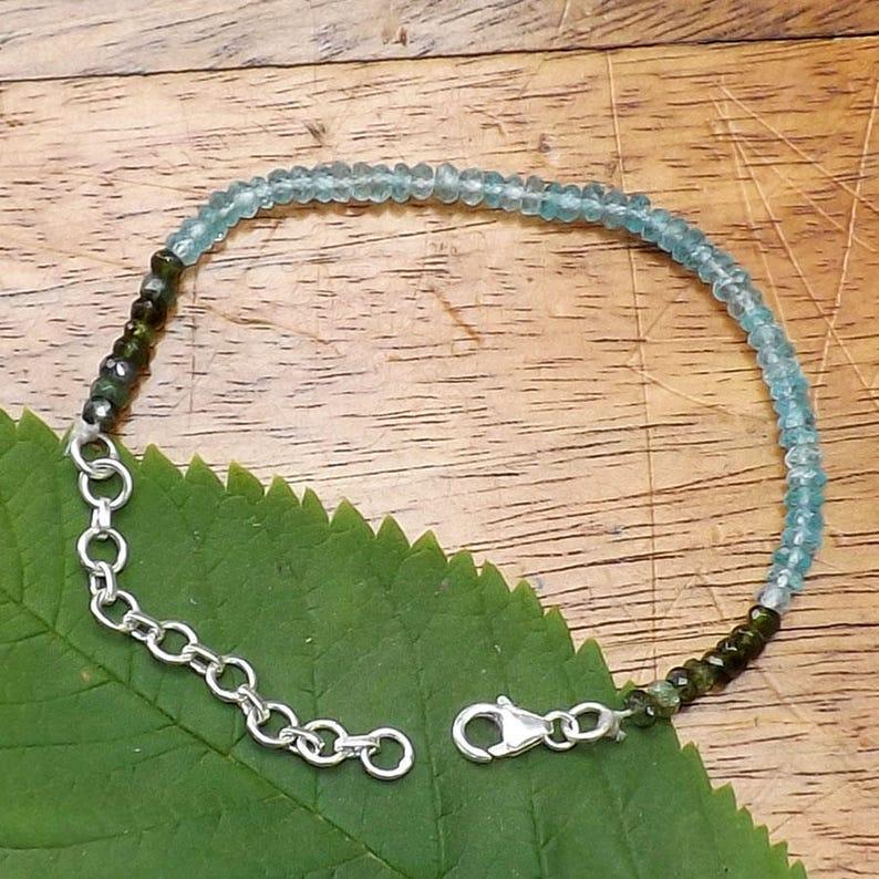 Aquamarine Beaded Bracelet AAAmazing Bracelet, Aquamarine Bracelet Green Tourmaline Bracelet Jewellery4All A++ Quality Beaded Bracelet