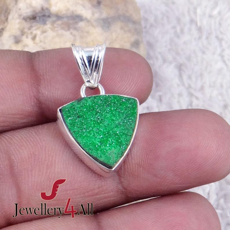 Uvarovite Druzy Genuine Uvarovite- Green Garnet Pendant Necklace Pendant Green Uvarovite Pendant Healing Stone 925 Silver Pendant