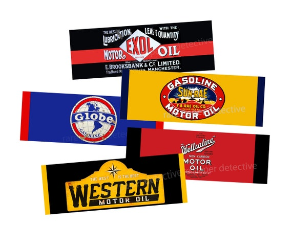Toolbox /& Party Decorations Retro Motor Oil Advertising and Gas Station Labels Set of 5 Large Oil Signs for Garage Oil Can Labels Car