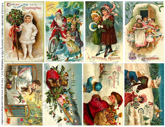 Victorian Christmas Cards Printed Vintage Santa Clause Cards Etsy