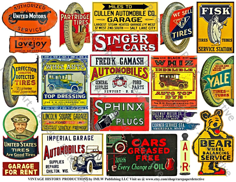 74 Car Decals, 5 Digital Downloads, Automobile, Garage, Oil Can & Taxi Cab  Signs and Vintage Advertising, Tool Box Stickers, Junk Journaling